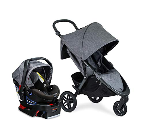 Britax B-Free Travel System with B-Safe Ultra Infant Car Seat - Birth to 65 Pounds | All Terrain Tires + Adjustable Handlebar + Extra Storage with Front Access + One Hand, Easy Fold, Vibe