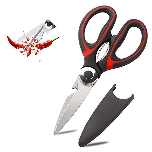 Forbici da cucina multifunzione, forbici multifunzione in acciaio inossidabile per tagliare verdure, tagliare la pancia di pesce, piallare apribottiglie di pancia di pollo, con coperchio a forbice