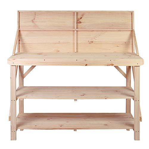 Werkbank mit doppelter Ablage und Rückwand, robust, Massivholz, handgefertigt, 120 cm, Holz, 122 cm