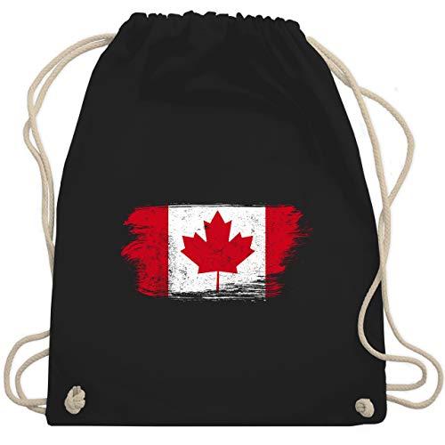 Shirtracer Kinder Fahnen und Flaggen - Kanada Vintage - Unisize - Schwarz - kanada beutel - WM110 - Turnbeutel und Stoffbeutel aus Baumwolle