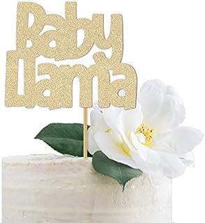 DKISEE Tarjeta con purpurina para decoración de tarta con llamas de bebé, decoración de baby shower, cartel para una fiest...