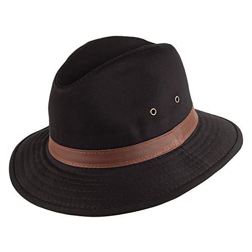 Village Hats Chapeau Safari en Coton Hydrofuge Noir Dorfman Pacific - Large
