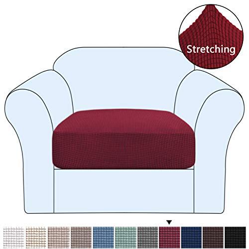 H.VERSAILTEX Funda de cojín de alta elasticidad para sofá de 1/2/3 plazas, funda de cojín de sofá y asiento, suave flexibilidad con parte inferior elástica, lavable a máquina, granate, Chair Cushion