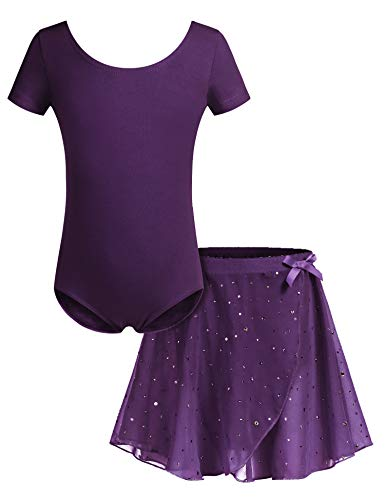 Bricnat - Maillot de Ballet para niña (Manga Corta, con tutú, algodón), Todo el año, Trapecio o Corte en A, Manga Corta, Niñas, Color Morado, tamaño 140 cm/5-6 años