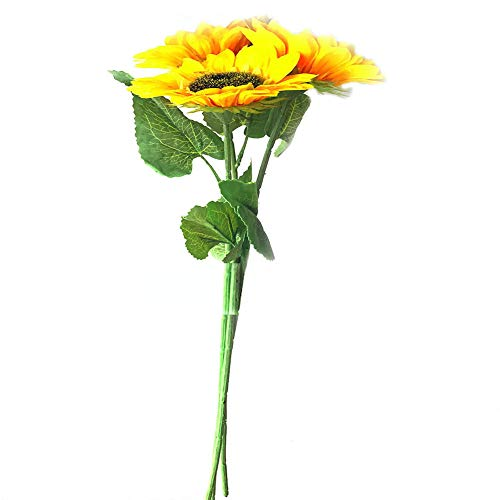 FagusHome Artificial Sunflowers - 3 Bunches 27.56' Sunflower Decor Sunflowers Bouquet Fake Sunflowers Bunch Large Silk Sunflowers for Home Decor