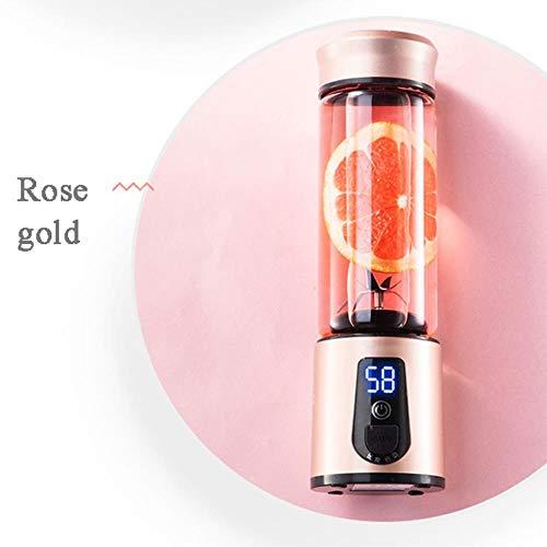 Licuadora eléctrica portátil Licuadora USB Mini Mezcladores de frutas Exprimidores Máquina LED Batidoras USB Extractor de frutas Máquina para hacer batidos Taza de batido nuevo, oro rosa