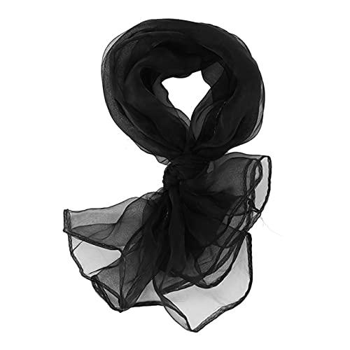 Bufanda cuadrada llana encantadora de la cabeza de la bufanda del cuello de la gasa de la manera 70 Cm X 70Cm, Negro, talla única