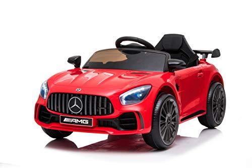 Tecnobike Shop Auto Macchina Elettrica per Bambini Mercedes GTR GT-R AMG 12V - Small Luci LED Suoni Mp3 Telecomando (Rosso)