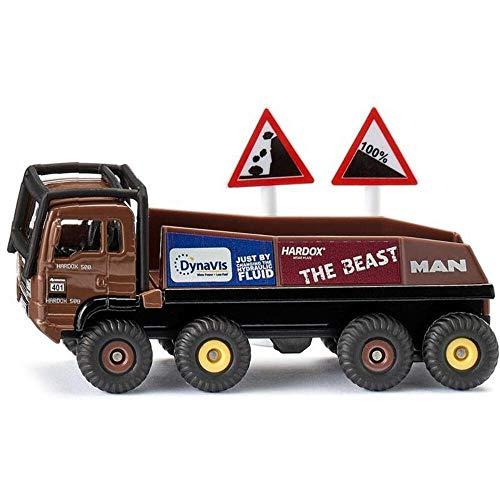 Siku 1686, HS Schoch 8x8 MAN Truck-Trial, Metall/Kunststoff, 1:87, braun, Inkl. 2 Warnschilder, Kombinierbar mit Siku Modellen im gleichen Maßstab