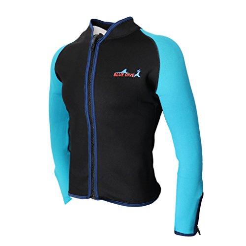 MagiDeal 2mm Männer Rash Guard Langarm Neopren Jacke Sonnenschutz UV Shirt für Tauchen Schwimmen Schnorcheln - Schwarz XL