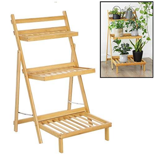 Plantenrek van bamboe hout - Plantentrap/bloemenrek voor binnen - Plantenetagere met 3 etages - Staand rek voor planten en bloemen - Decopatent