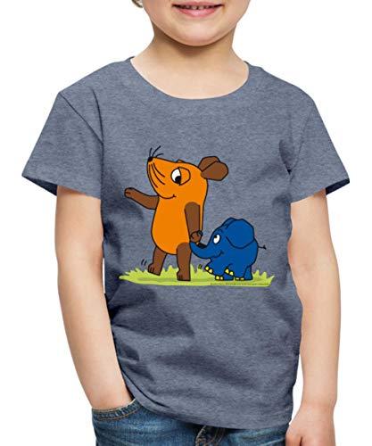 Sendung Mit Der Maus Elefant Und Maus Hand In Rüssel Kinder Premium T-Shirt, 110-116, Blau meliert