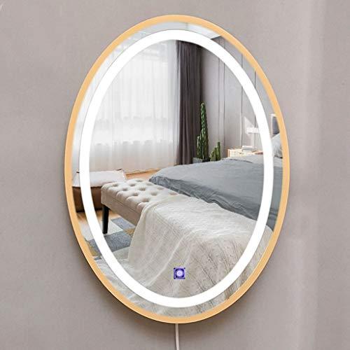 ZXCV Badkamer Spiegels, LED Wandmontage Decoratieve Spiegel Met Touch Schakelaar Koud en warm licht Verlichte ovale Effen houten rand 53x39cm