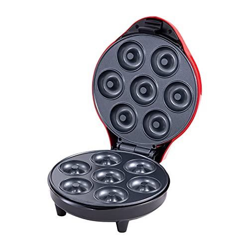 Montloxs Mini máquina para Hacer donas para Desayuno, bocadillos, postres, Superficie Antiadherente, Hace 7 donas, Enchufe Europeo de 1200 W