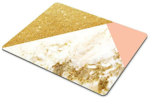 Smooffly Pink Gold White Marbling Rectangle Gaming Mouse Pad Personalized Custom Design,Pink Gold Glitter and White Marble Texture Mouse Pads Photo #4