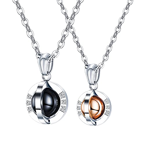 YNING Collar de acero de titanio para pareja/colgante de bola giratoria de diamante, longitud de cadena ajustable, regalo adecuado para niñas, novias, mujeres, mujeres, niños, novios, hombres, maridos
