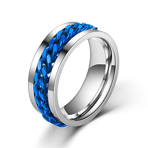 ZIYUYANG Abridor de botellas giratorio para hombres y mujeres anillo de acero de titanio 12 Azul