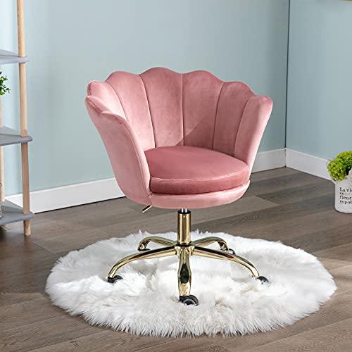 Wahson Velvet Home Office Chair Swivel Chair Height Adjustable Armless Task Chair with Gold Base,Desk Chair for Bedroom/Vanity (Pink, Velvet)