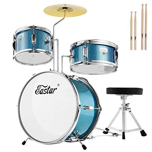 Eastar ドラムセット 子供用 キッズドラム 14インチ 音楽玩具 椅子 シンバル ペダル ドラムスティック付 EDS-180 (空色)