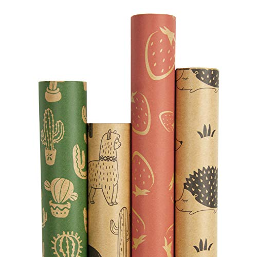 RUSPEPA Kraft Wrapping Paper Roll - Cactus/Strawberry/Alpaca/Hedgehog Printed Great for Congrats, Holiday and Special Occasion - 4 Roll - 30Inch X 10Feet Per Roll