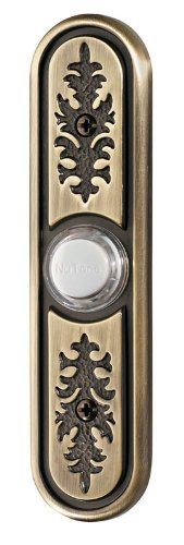 NuTone PB64LAB Wired Lighted Door Chime Push Button, Antique Brass