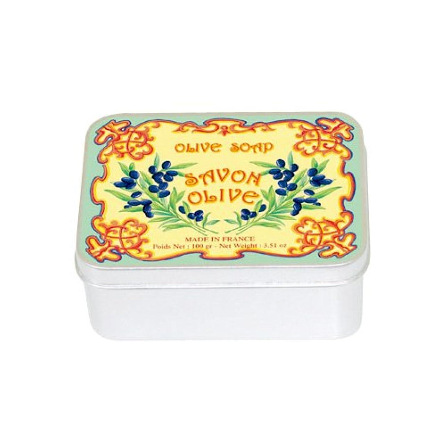 警報暫定小麦粉ルブランソープ メタルボックス(オリーブの香り)石鹸