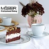 MÄSER 931532 Professional Dining, Kaffeeservice für 6 Personen in Weiß mit Goldrand, 18-teiliges Kaffeegeschirr Set, Porzellan - 5