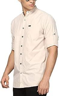 Urbano Fashion Men's Cotton Full Sleeve Shirt with Mandarin Collar