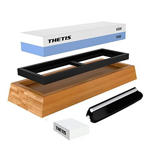 THETIS Homes Knife Sharpening Stone Kit,Whetstone Knife Sharpener 2 Side Girt 1000/6000 Sword Sharpener with Non-Slip Bamboo Base, Angle Guide, Flattening Stone & Ebook
