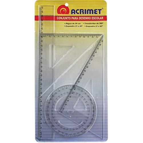 Conjunto para Desenho, Acrimet, 562.0, Régua de 30cm + Transferidor 360° + Esquadro Isósceles 45° de 21cm + Esquadro Escaleno 60° de 21cm, Transparente