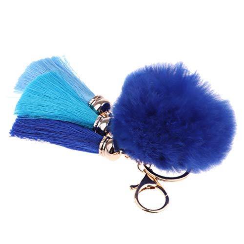 Unbekannt Künstliche Kaninchenfell Pompom mit Quaste Schlüsselanhänger Damen Bommel Handtaschenanhänger Auto Schlüsselring Keychain - Königsblau