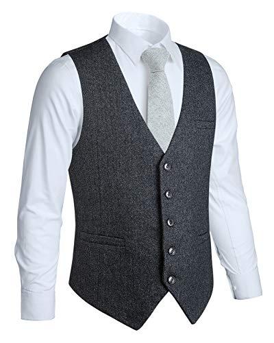 HISDERN Vestito da cerimonia nuziale convenzionale da uomo di 5 bottoni Gilet di lana Gilet di tweed a spina di pesce Abito Abito Gilet