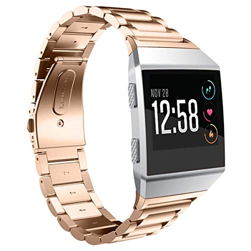 AIUNIT Compatible with Ionic Band, Stainless Steel Metal Replacement Strap Bracelet Large Small Wrist Band Accessories for Ionic Smart Watch Women Man - Rose Gold