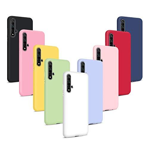9X Funda para Huawei Nova 5T/ Honor 20, Carcasas Flexible Suave TPU Silicona Ultra Delgado Protección Caso(Rojo + Rosa Claro + Púrpura + Amarillo + Rosa Oscuro + Verde + Negro + Azul Oscuro)