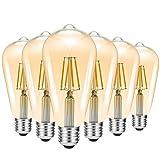 HAISHA Bombilla LED Vintage Regulable, 4W (equivalente a 40W), 400lm, Lámpara LED Edison Retro ST64 E27 2200K (Luz de vela), Paquete de 6, Ámbar dorado