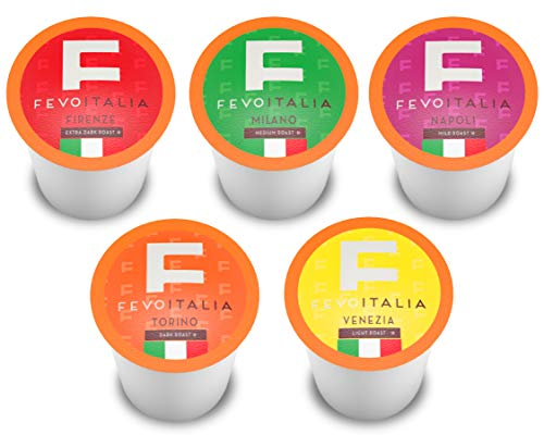 Fevo Italia Variety Pack Coffee Pods, Compatible with 2.0 K-Cup Brewers, 100 Count