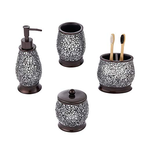 zccz Glass Mosaic Bathroom Accessories Set, 4 Piece Decorative Bathroom Vanity Countertop Accessory Set with Lotion/Soap Dispenser, Cotton Jar, Toothbrush Holder and Bathroom Tumbler