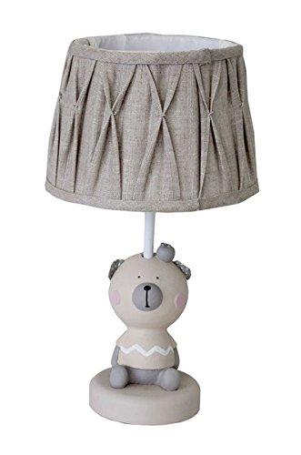 Keyhome Lámpara de mesa de madera estilo rústico Shabby diseño provenzal abat tulipa mesilla con pantalla tela beige - altura 60 cm