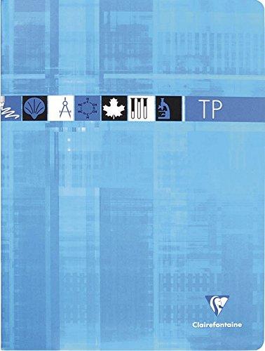 Clairefontaine 3378C - Un cahier piqué de travaux pratiques 64 pages 24x32 cm petits carreaux 90 g et unies 125 g, couverture carte pelliculée couleur aléatoire