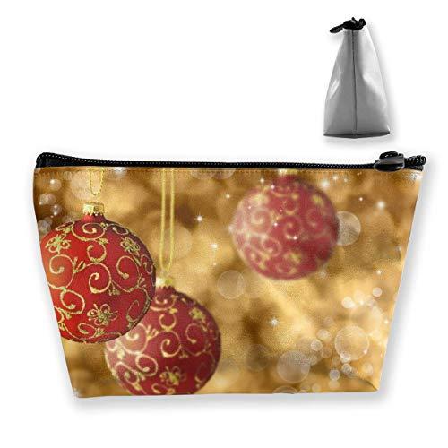 Trousse de maquillage trapézoïdale pour le Nouvel An, rouge, doré, avec fermeture éclair