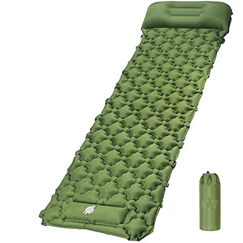 JOOLEE Colchoneta aislante para camping con bomba de pie de 6 cm de grosor, colchoneta autohinchable, duradera, impermeable, compacta, para camping, acampada, senderismo, viajes, color verde