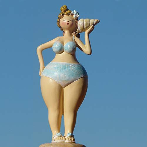 Pommerntraum ®| Dicke Dame - Dicke Lady - Dicke Maritime Badenixe - Dicke Nana - Dekorationsfigur Rubensfigur am Strand - Laura