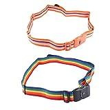 Sangles de bagage - Sac de voyage réglable avec serrure pour ceinture (Couleur : Rainbow)