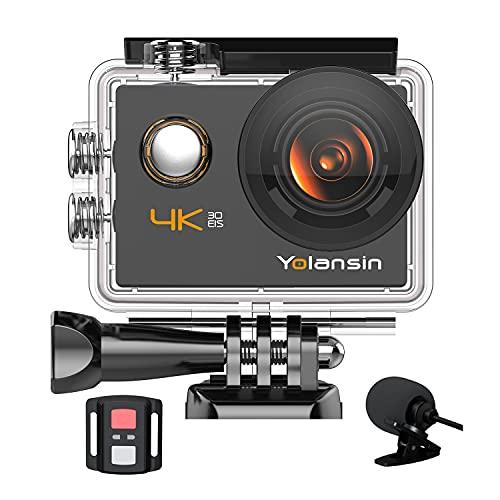 【2021 Upgrade】 Yolansin 4K Action Camera Underwater Camera 20MP 40M Waterproof EIS Sports Camera...