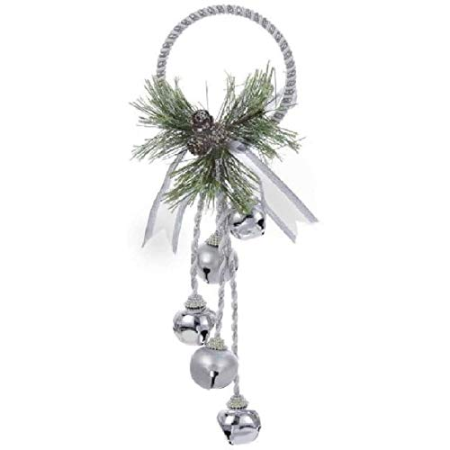 Kurt Adler J3635 Silver and White Metal Bell With Pinecone Door Hanger, 13 inches