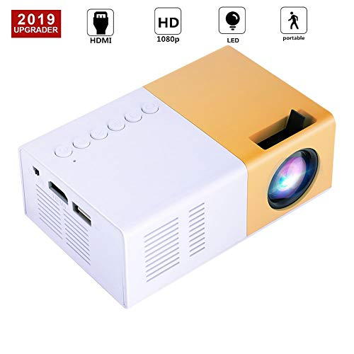 Mini Proiettore, ASHATA Portable Proiettore HD Home Theater da 1500 Lumens LED , Multimedia Supporto Full HD Proiettore Video 1080P HDMI VGA USB AV SD, per Video Movie Game Home Entertainment ecc.(EU)