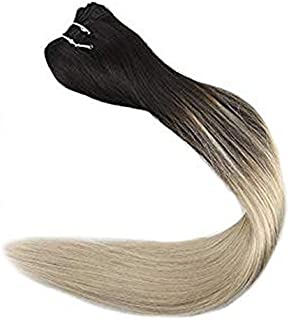Full Shine 20 Inch Sew In Hair Weft Human Hair Extensions Balayage Color 1B/613 Black Fading To Blonde Remy Hair Bundles 100 Gram Per Package Full Head Hair Weaves