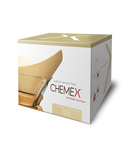 CHEMEX Bonded Filter - Natural Square - 100 ct - 2 Pack - Exclusive Packaging