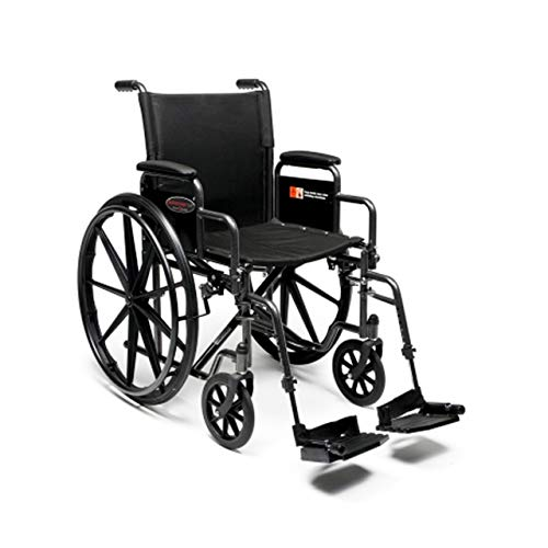 GrahamField3H020140 Everest amp Jennings Advantage LX Wheelchair Detachable Full Arms amp Swingaway Footrests 18quot Seat Silvervein Color