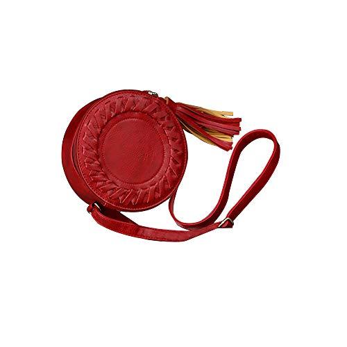 Amazing Deal Womens Round Leather Zipper Tassel Cross Weave Pattern Crossbody Bag Shoulder Bag Summe...